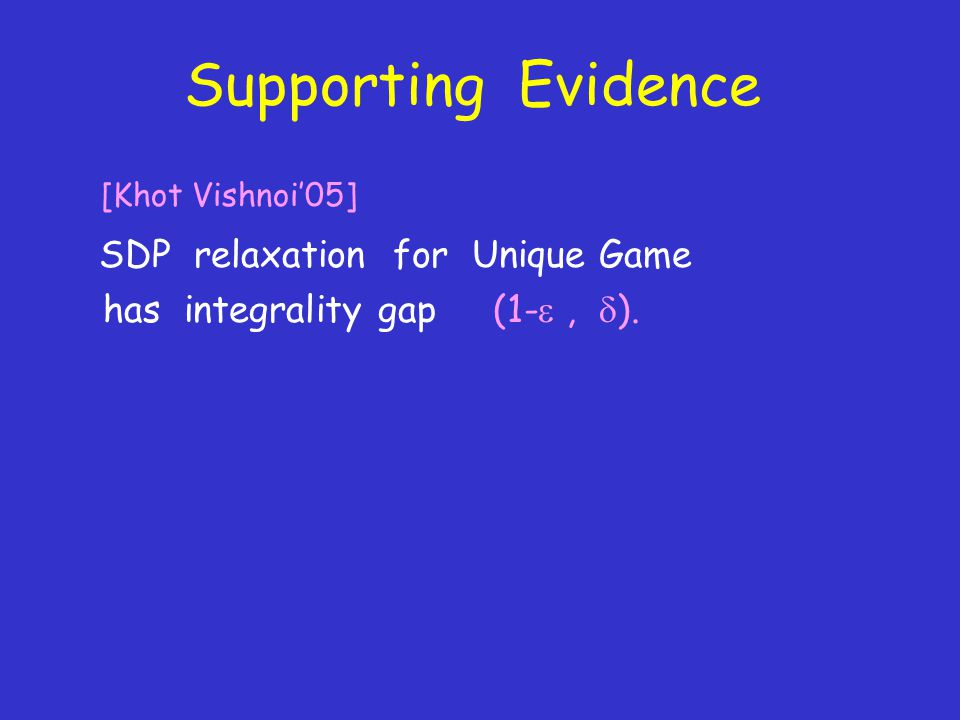 Supporting Evidence [Khot Vishnoi'05] SDP relaxation for Unique Game has integrality gap (1- ,  ).