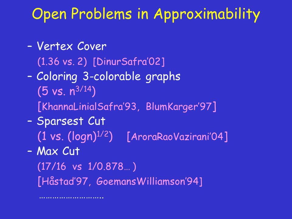Open Problems in Approximability –Vertex Cover (1.36 vs.