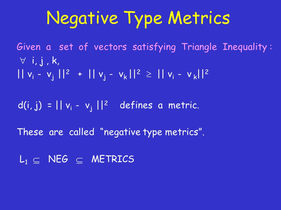 Negative Type Metrics Given a set of vectors satisfying Triangle Inequality :  i, j, k, || v i - v j || 2 + || v j - v k || 2  || v i - v k || 2 d(i, j) = || v i - v j || 2 defines a metric.