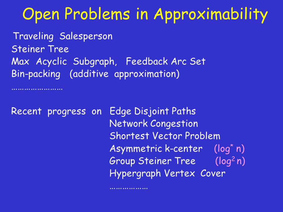 Open Problems in Approximability Traveling Salesperson Steiner Tree Max Acyclic Subgraph, Feedback Arc Set Bin-packing (additive approximation) …………………… Recent progress on Edge Disjoint Paths Network Congestion Shortest Vector Problem Asymmetric k-center (log * n) Group Steiner Tree (log 2 n) Hypergraph Vertex Cover ………………