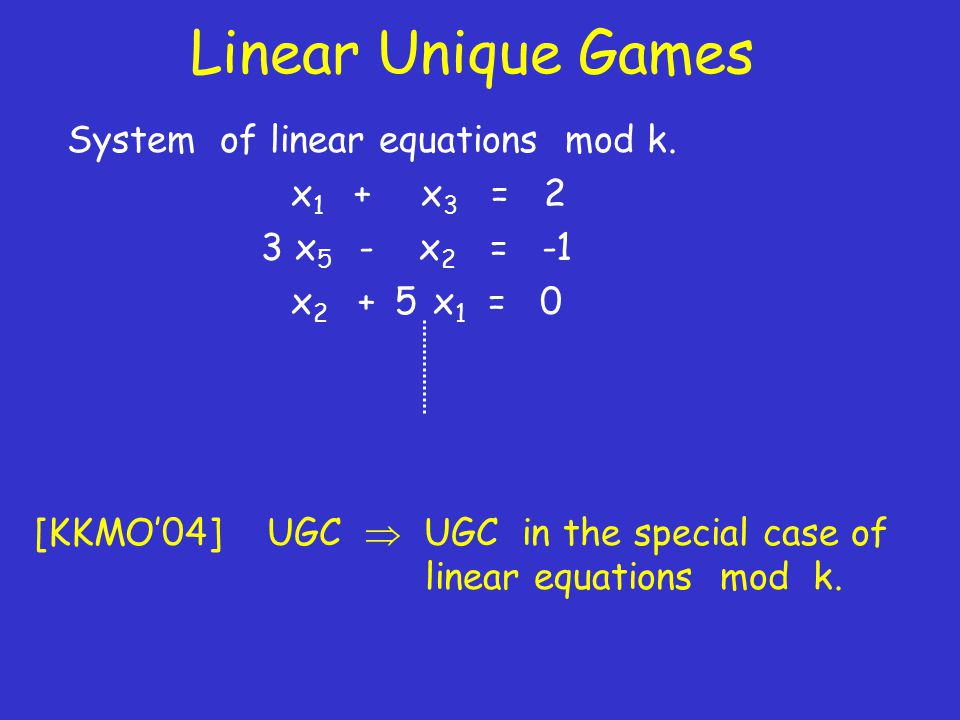 Linear Unique Games System of linear equations mod k.