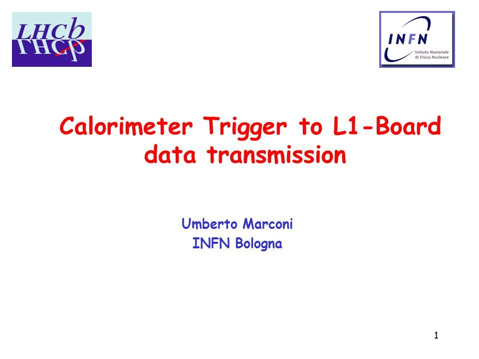 1 Calorimeter Trigger to L1-Board data transmission Umberto Marconi INFN Bologna