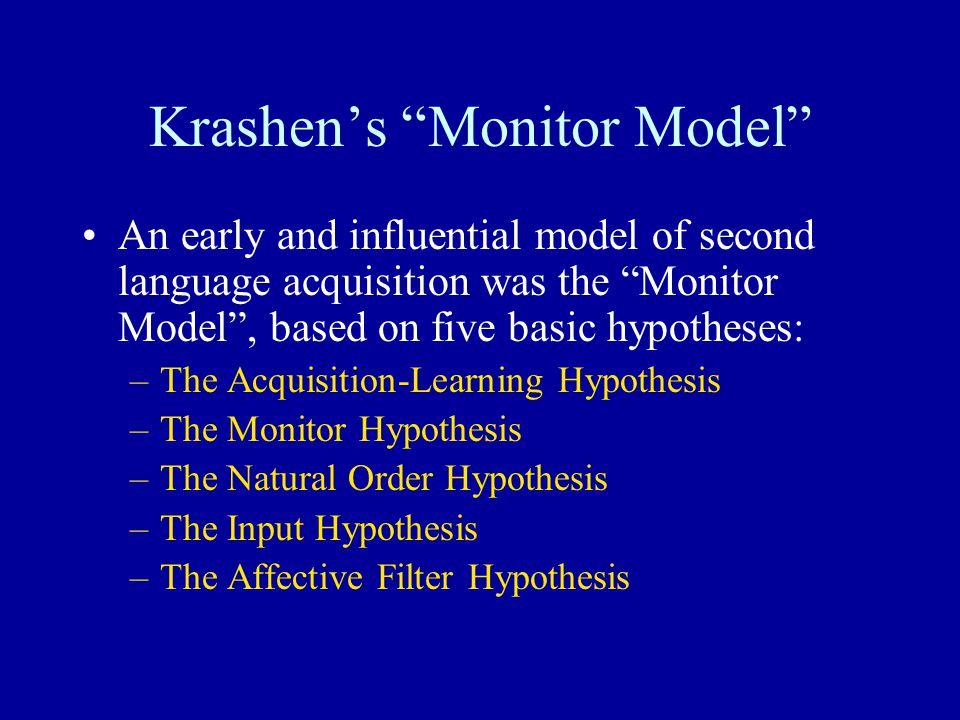 """Krashen's """"Monitor Model"""" An early and influential model of second language acquisition was the """"Monitor Model"""", based on five basic hypotheses: –The"""