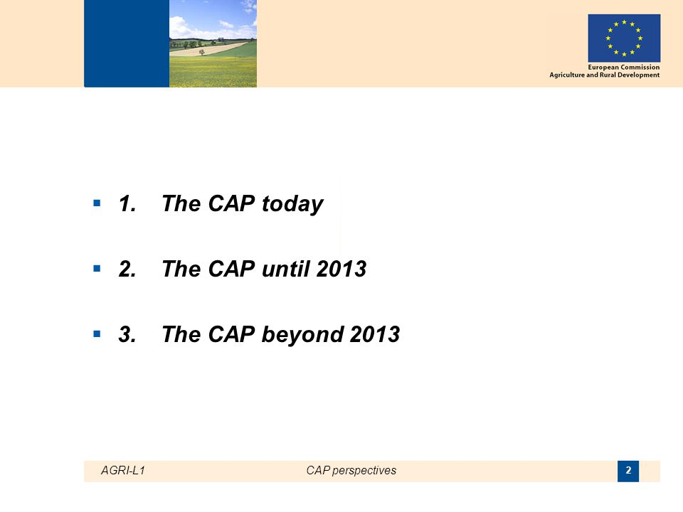 AGRI-L1CAP perspectives 3 1. The CAP today