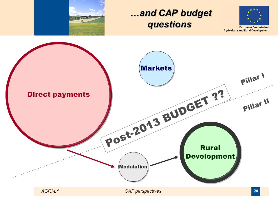 AGRI-L1CAP perspectives 20 Rural Development Direct payments Markets Pillar I Pillar II Post-2013 BUDGET ?.