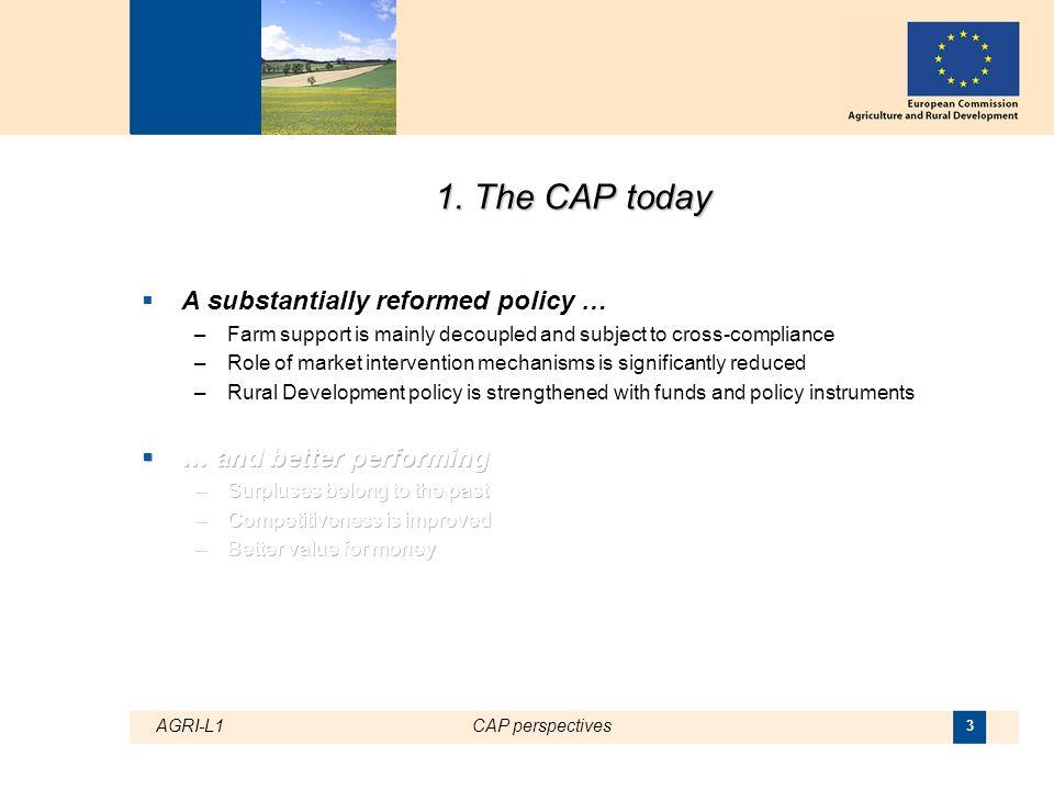 AGRI-L1CAP perspectives 14 Recent trend of EU agricultural market prices