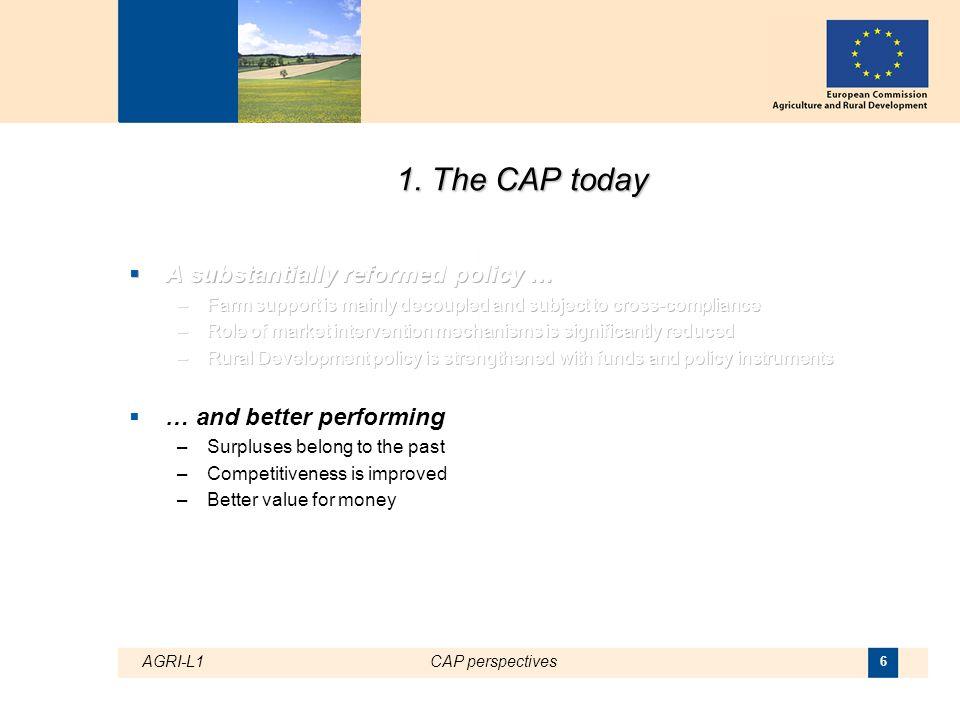 AGRI-L1CAP perspectives 7 Impact of CAP reforms on EU net production surplus