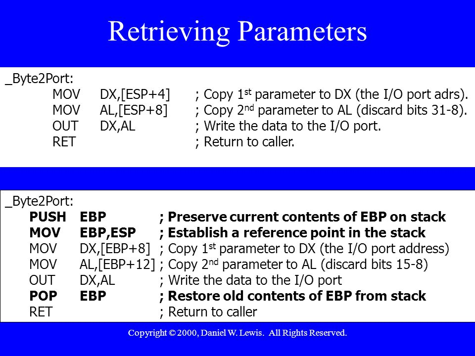 Copyright © 2000, Daniel W. Lewis. All Rights Reserved. Retrieving Parameters _Byte2Port: PUSHEBP; Preserve current contents of EBP on stack MOVEBP,ES