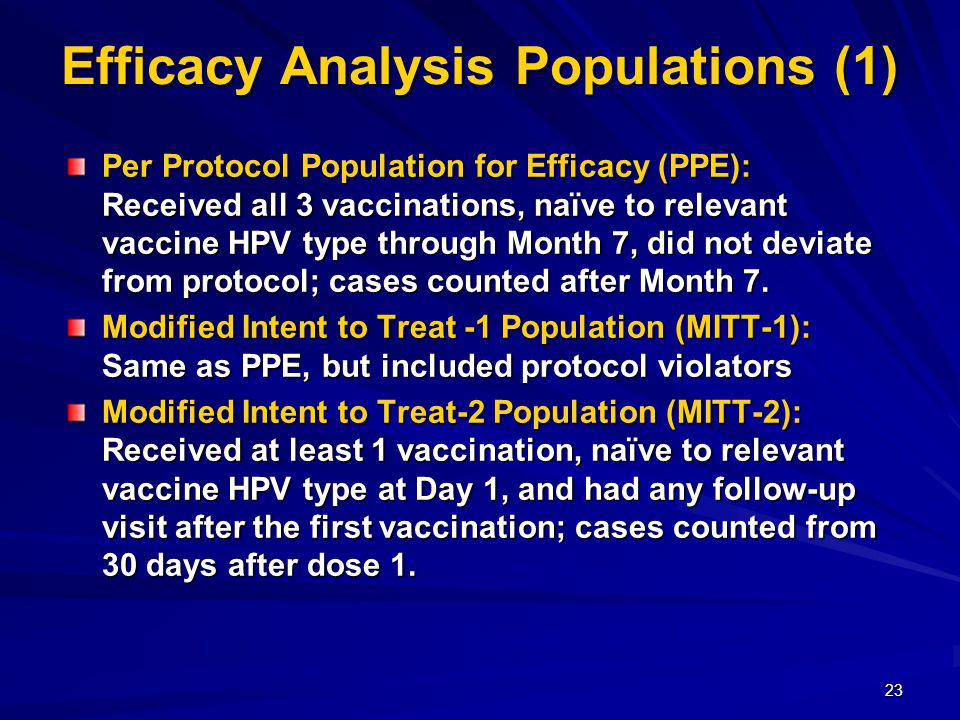 23 Efficacy Analysis Populations (1) Per Protocol Population for Efficacy (PPE): Received all 3 vaccinations, naïve to relevant vaccine HPV type through Month 7, did not deviate from protocol; cases counted after Month 7.