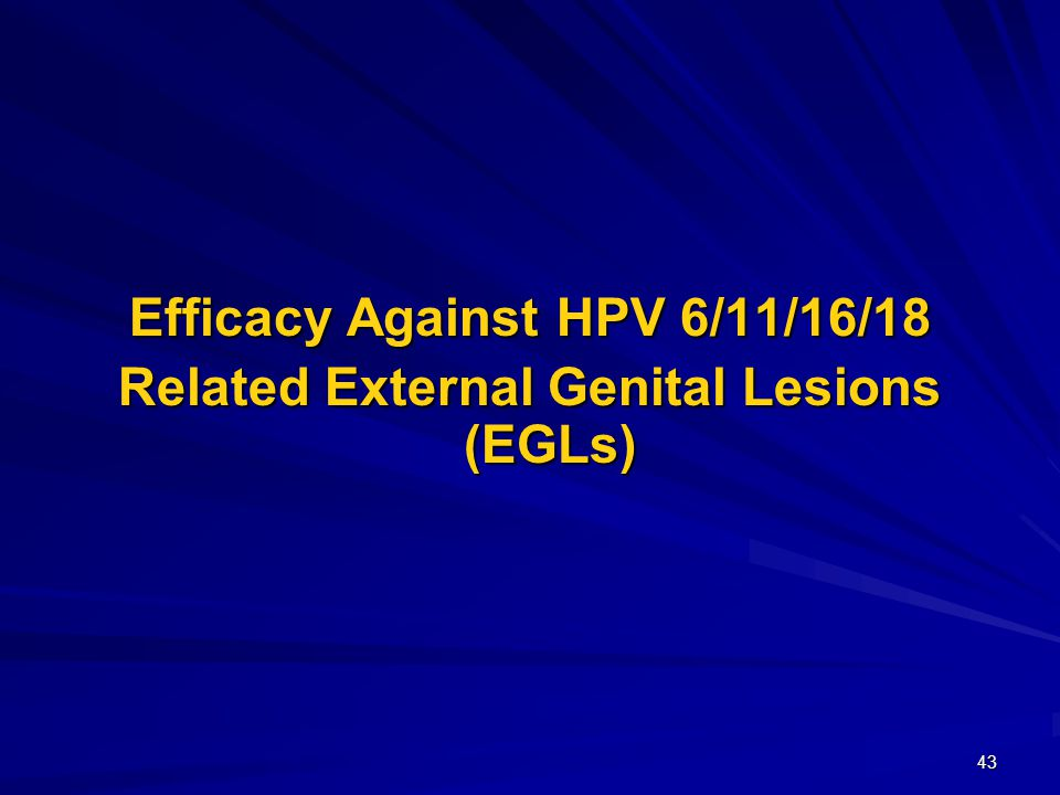 43 Efficacy Against HPV 6/11/16/18 Related External Genital Lesions (EGLs)