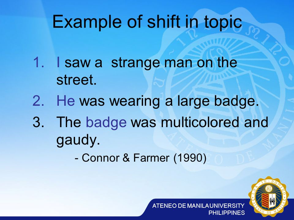 ATENEO DE MANILA UNIVERSITY PHILIPPINES Example of shift in topic 1.I saw a strange man on the street.