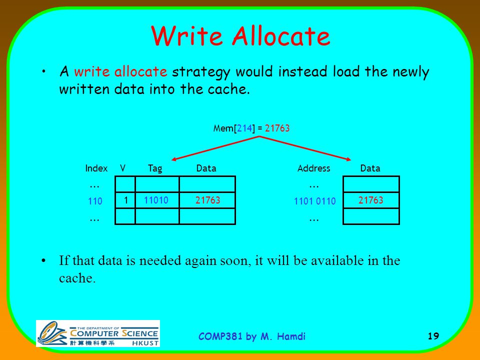 COMP381 by M. Hamdi 19 Write Allocate A write allocate strategy would instead load the newly written data into the cache. If that data is needed again