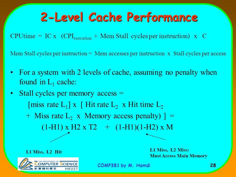 COMP381 by M. Hamdi 28 CPUtime = IC x (CPI execution + Mem Stall cycles per instruction) x C Mem Stall cycles per instruction = Mem accesses per instr