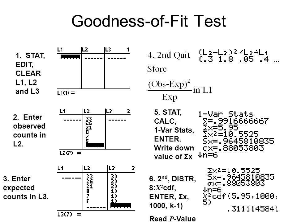 Goodness-of-Fit Test 1. STAT, EDIT, CLEAR L1, L2 and L3 2. Enter observed counts in L2. 5. STAT, CALC, 1-Var Stats, ENTER. Write down value of Σx 6. 2
