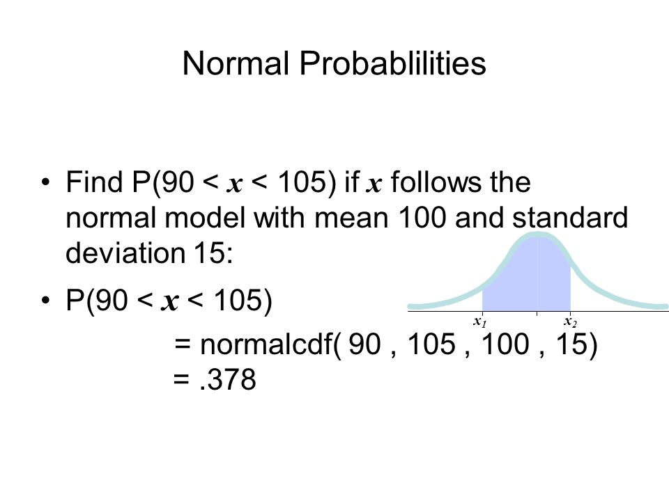 Normal Probablilities Find P(90 < x < 105) if x follows the normal model with mean 100 and standard deviation 15: P(90 < x < 105) = normalcdf( 90, 105