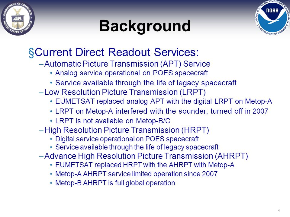 Background §Current Direct Readout Services: –Automatic Picture Transmission (APT) Service Analog service operational on POES spacecraft Service avail
