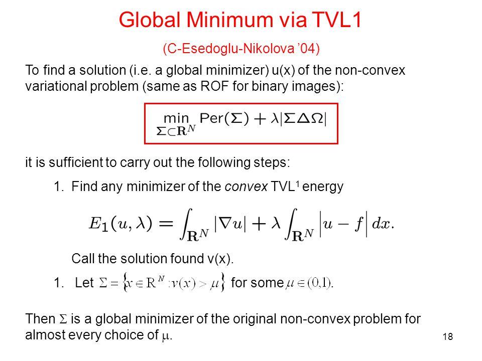 18 Global Minimum via TVL1 (C-Esedoglu-Nikolova '04) To find a solution (i.e.