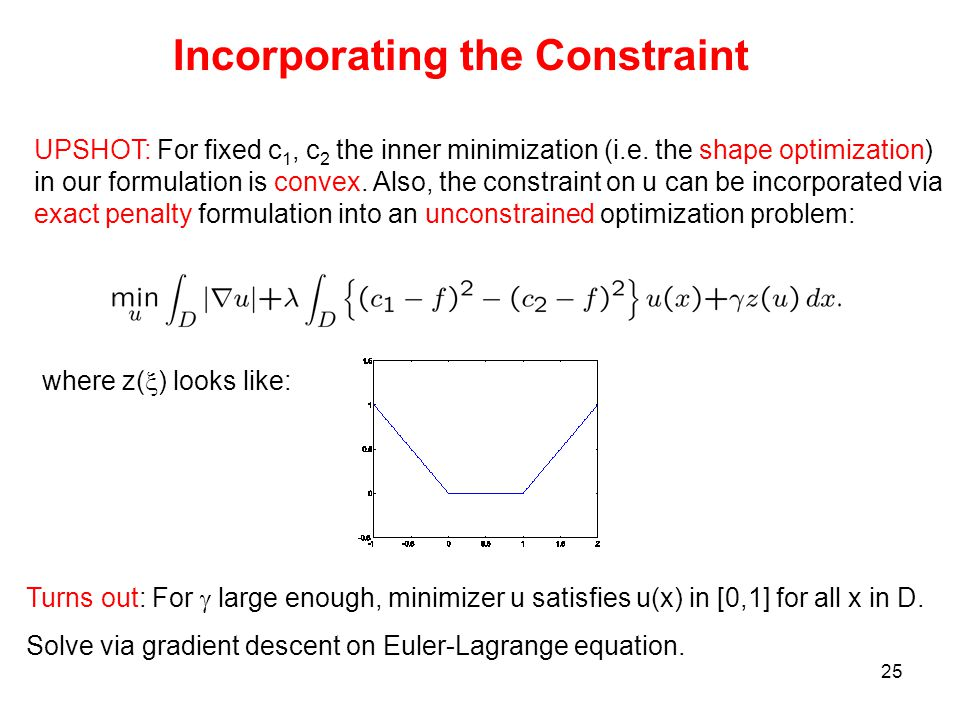 25 UPSHOT: For fixed c 1, c 2 the inner minimization (i.e.