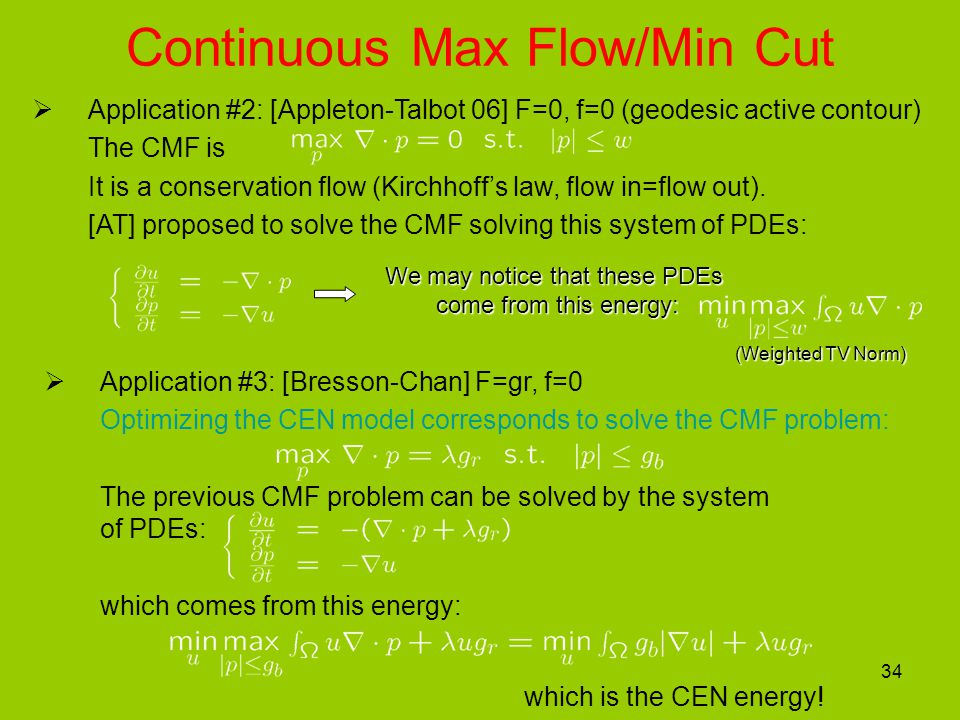 34  Application #3: [Bresson-Chan] F=gr, f=0 Optimizing the CEN model corresponds to solve the CMF problem: The previous CMF problem can be solved by the system of PDEs: which comes from this energy: which is the CEN energy.