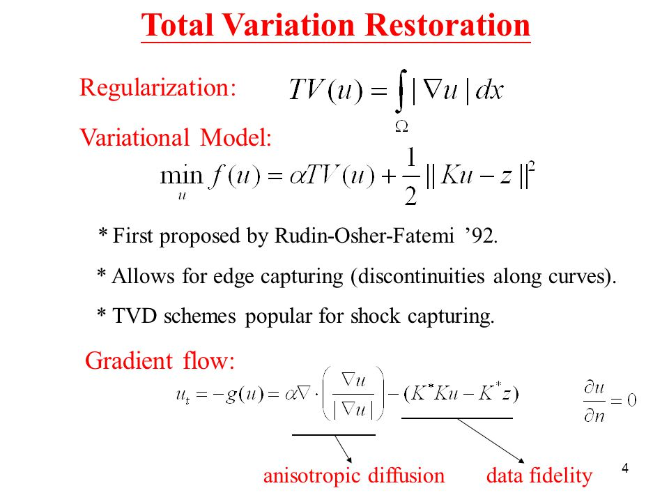 4 Total Variation Restoration Gradient flow: anisotropic diffusion data fidelity * First proposed by Rudin-Osher-Fatemi '92.