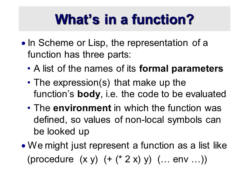 What's in a function.