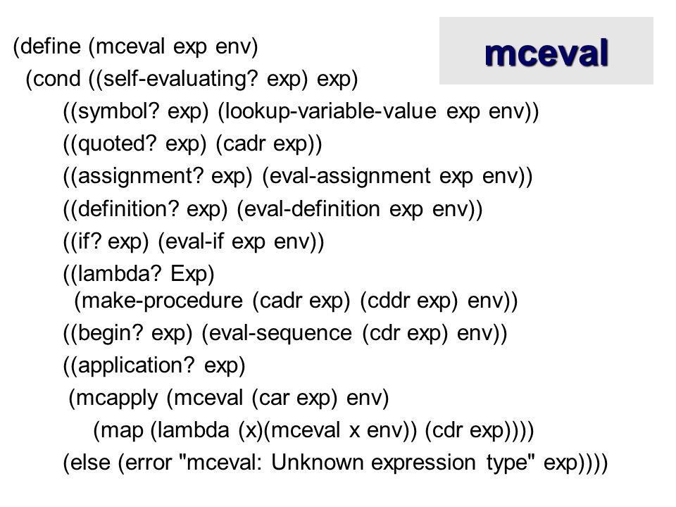 mceval (define (mceval exp env) (cond ((self-evaluating? exp) exp) ((symbol? exp) (lookup-variable-value exp env)) ((quoted? exp) (cadr exp)) ((assign