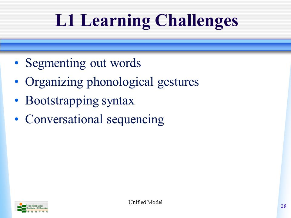 Unified Model 28 L1 Learning Challenges Segmenting out words Organizing phonological gestures Bootstrapping syntax Conversational sequencing