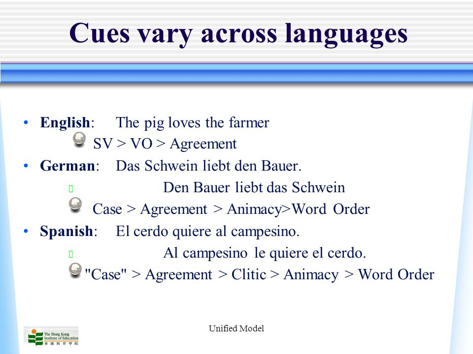 Unified Model Cues vary across languages English:The pig loves the farmer SV > VO > Agreement German:Das Schwein liebt den Bauer.