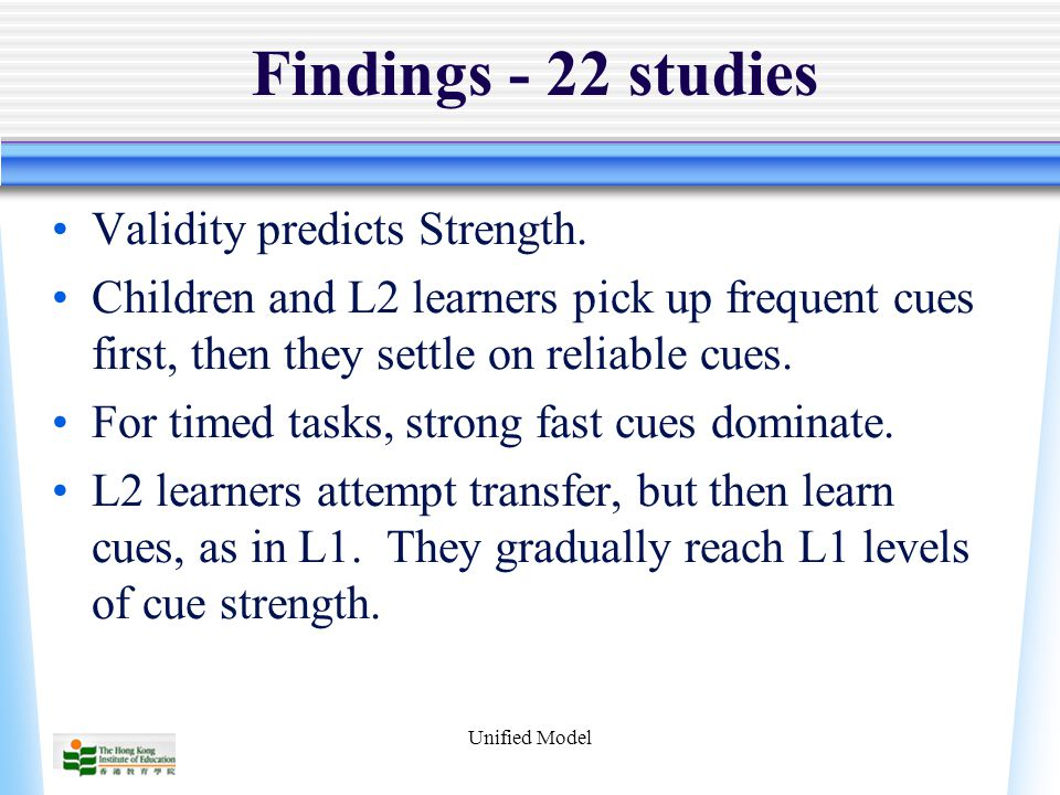 Unified Model Findings - 22 studies Validity predicts Strength.