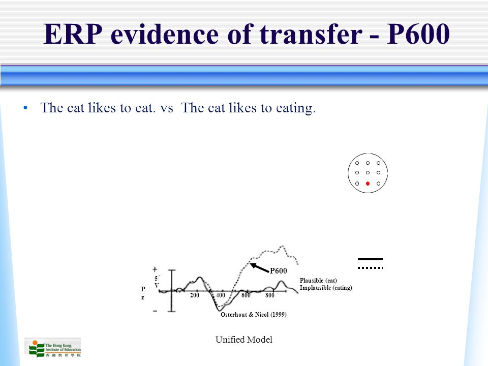 Unified Model ERP evidence of transfer - P600 The cat likes to eat.