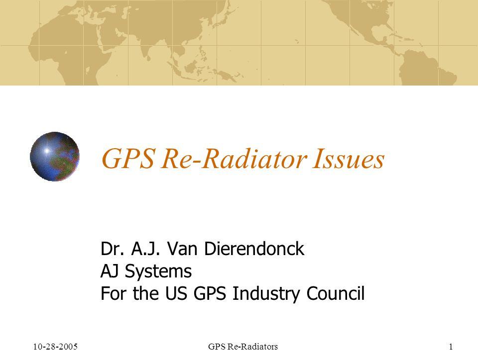 10-28-2005GPS Re-Radiators1 GPS Re-Radiator Issues Dr.