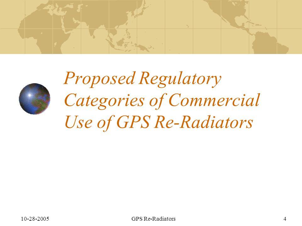 10-28-2005GPS Re-Radiators4 Proposed Regulatory Categories of Commercial Use of GPS Re-Radiators