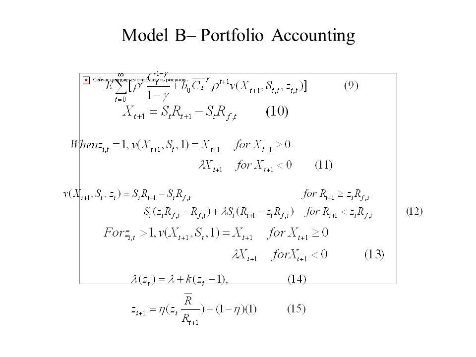 Model B– Portfolio Accounting