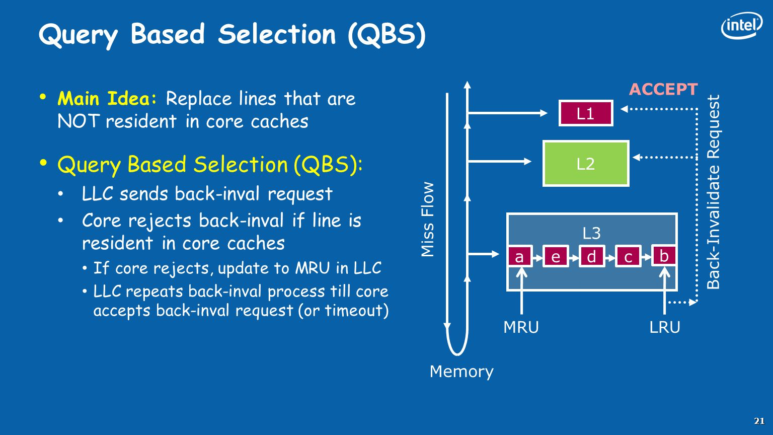 Query Based Selection (QBS) Main Idea: Replace lines that are NOT resident in core caches Query Based Selection (QBS): LLC sends back-inval request Co