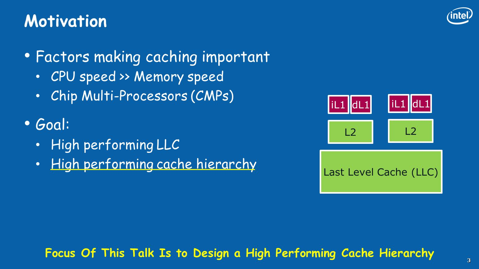 Motivation Factors making caching important CPU speed >> Memory speed Chip Multi-Processors (CMPs) Goal: High performing LLC High performing cache hie