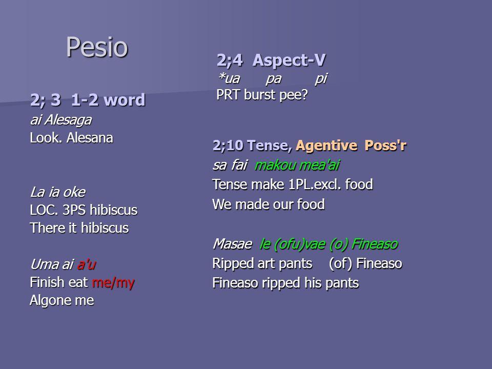 Pesio 2; 3 1-2 word ai Alesaga Look. Alesana La ia oke LOC.