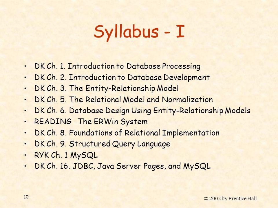 © 2002 by Prentice Hall 10 Syllabus - I DK Ch. 1.