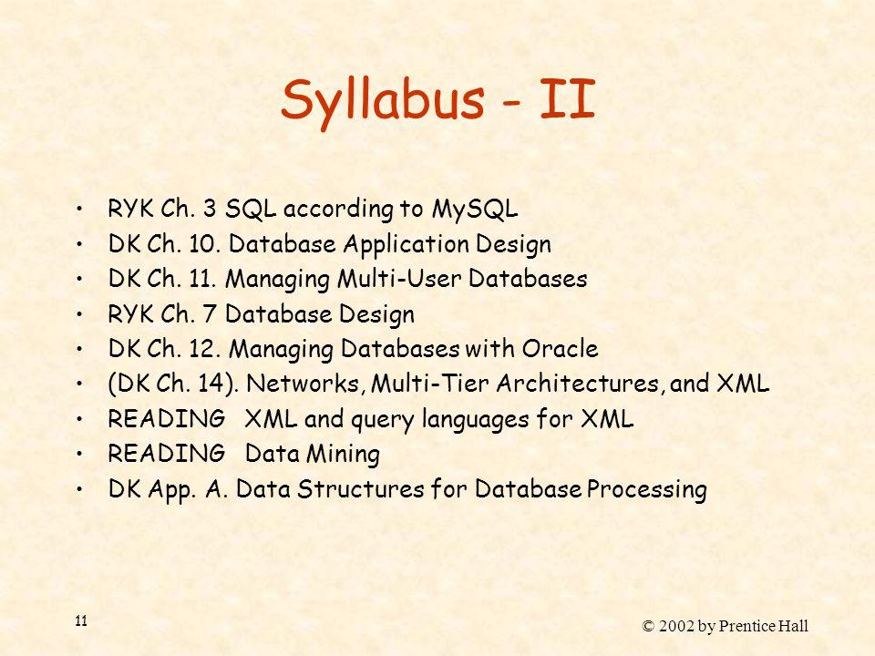 © 2002 by Prentice Hall 11 Syllabus - II RYK Ch. 3 SQL according to MySQL DK Ch.