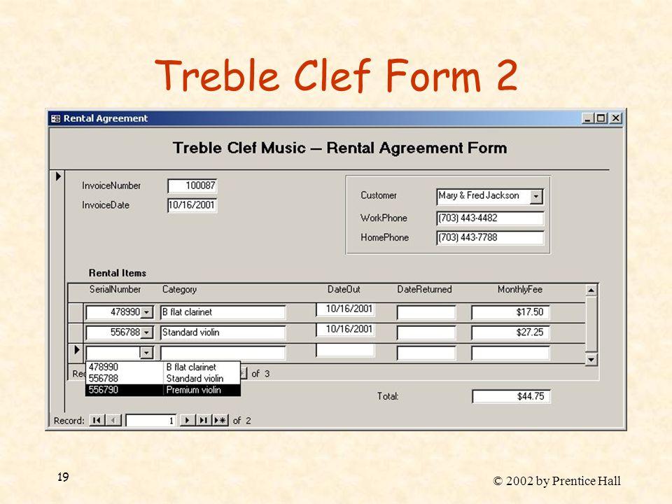 © 2002 by Prentice Hall 19 Treble Clef Form 2
