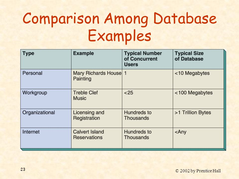 © 2002 by Prentice Hall 23 Comparison Among Database Examples
