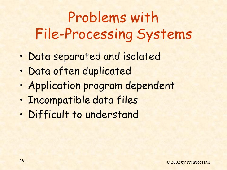 © 2002 by Prentice Hall 28 Problems with File-Processing Systems Data separated and isolated Data often duplicated Application program dependent Incompatible data files Difficult to understand