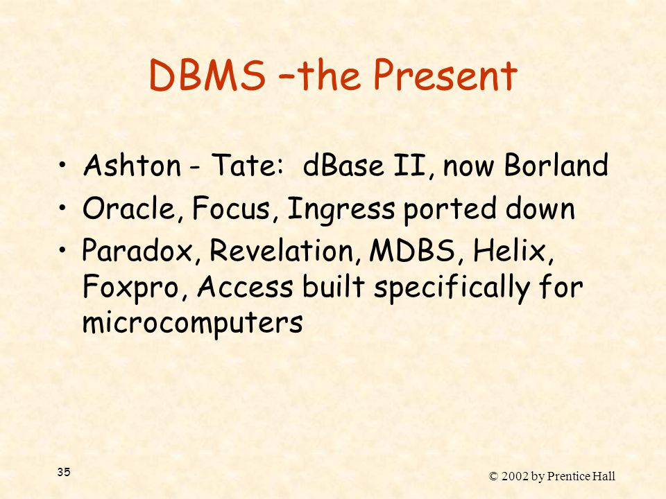 © 2002 by Prentice Hall 35 DBMS –the Present Ashton - Tate: dBase II, now Borland Oracle, Focus, Ingress ported down Paradox, Revelation, MDBS, Helix, Foxpro, Access built specifically for microcomputers