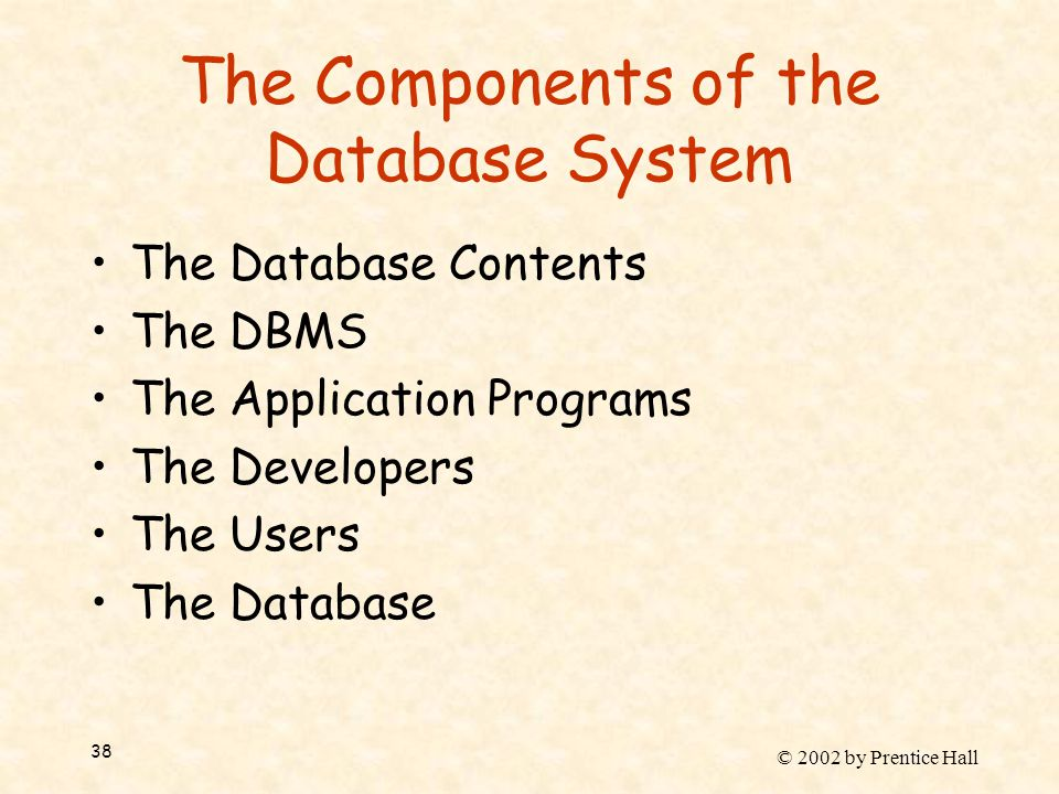 © 2002 by Prentice Hall 38 The Components of the Database System The Database Contents The DBMS The Application Programs The Developers The Users The Database