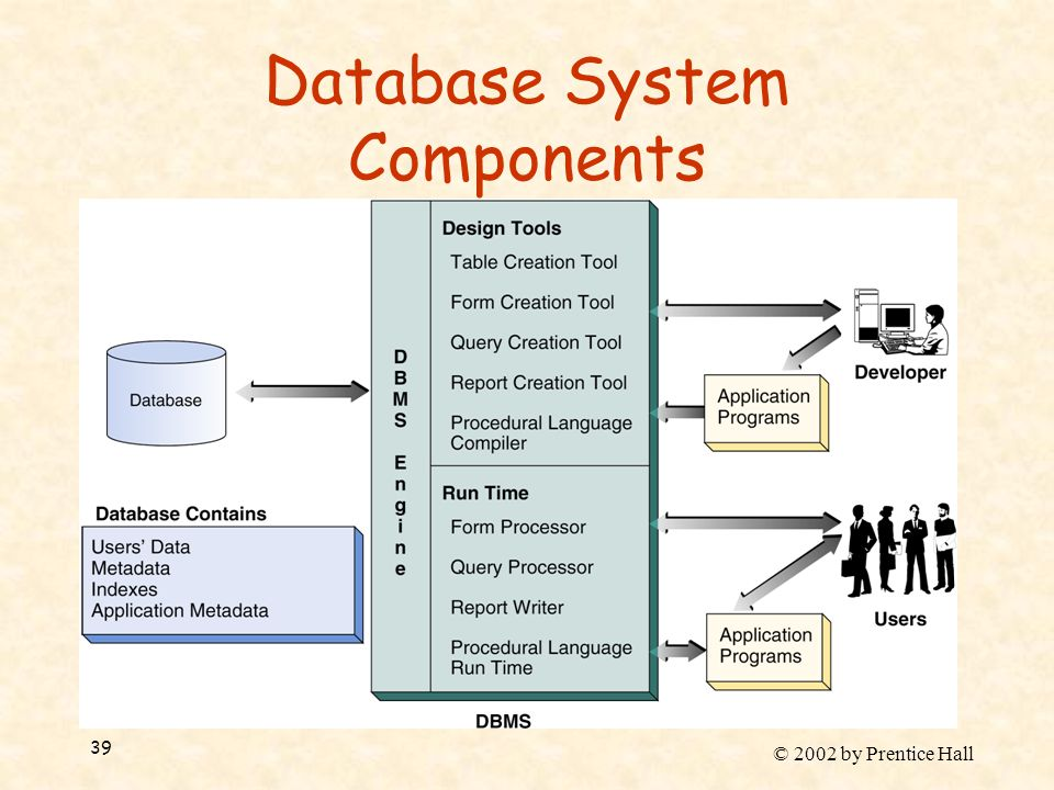 © 2002 by Prentice Hall 39 Database System Components