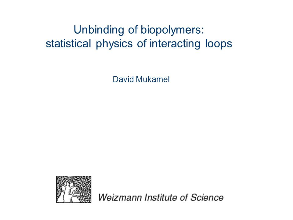 Unbinding of biopolymers: statistical physics of interacting loops David Mukamel