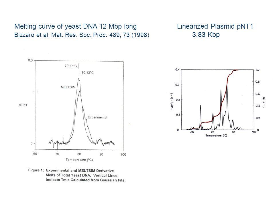 Melting curve of yeast DNA 12 Mbp long Bizzaro et al, Mat.