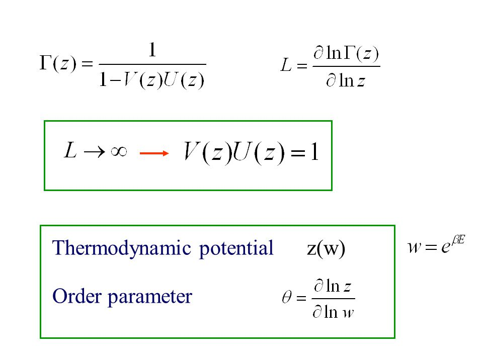 Thermodynamic potential z(w) Order parameter
