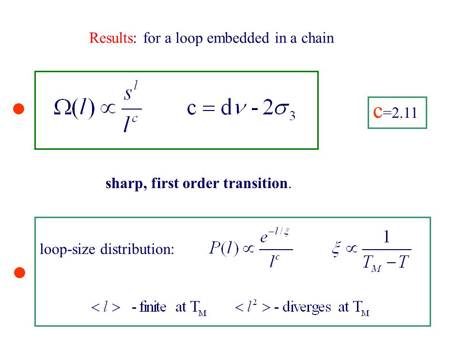 Results: for a loop embedded in a chain c =2.11 sharp, first order transition. loop-size distribution: