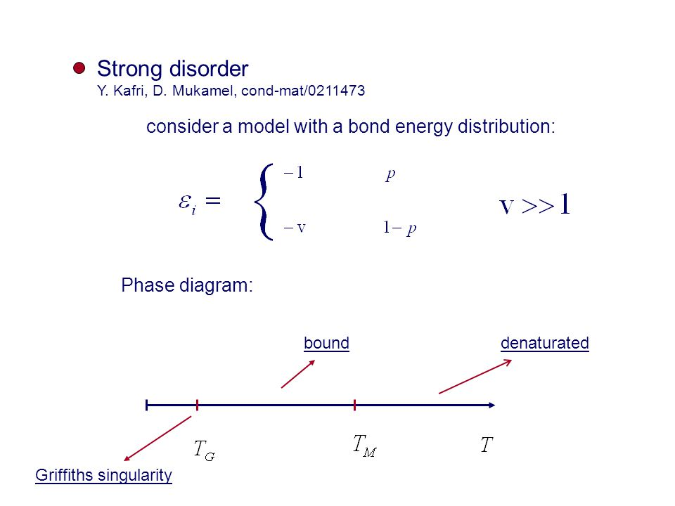 Strong disorder Y. Kafri, D. Mukamel, cond-mat/0211473 consider a model with a bond energy distribution: Phase diagram: denaturatedbound Griffiths sin