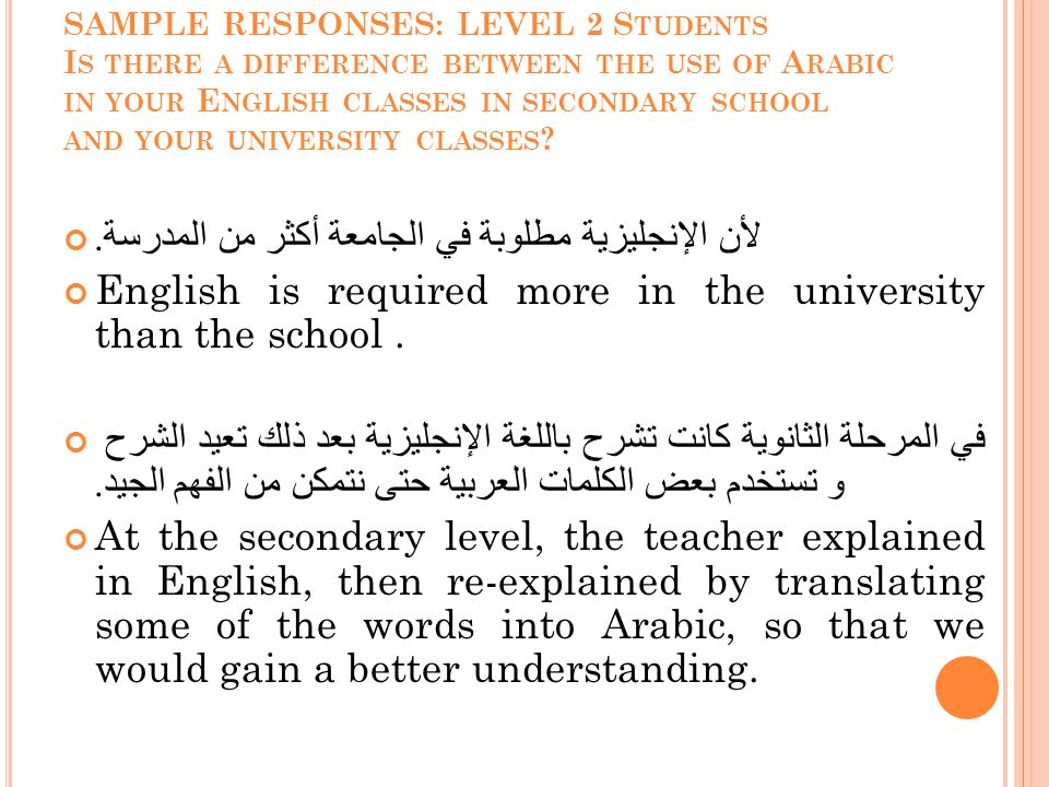 SAMPLE RESPONSES: LEVEL 2 S TUDENTS I S THERE A DIFFERENCE BETWEEN THE USE OF A RABIC IN YOUR E NGLISH CLASSES IN SECONDARY SCHOOL AND YOUR UNIVERSITY CLASSES .